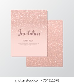 Elegant invitation cards with rose gold sequins on blush background.