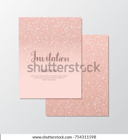 Elegant invitation cards rose gold sequins stock vector royalty elegant invitation cards with rose gold sequins on blush background colourmoves