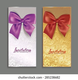 Elegant invitation cards with silk bows and floral background