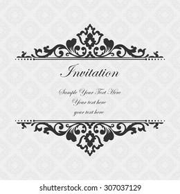 Elegant invitation. Decorative vintage frame. Beautiful floral invitation card. Vector damask illustration.