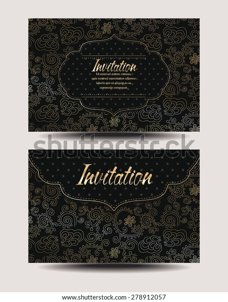 Elegant Invitation Envelopes Gold Floral Design Stock Vector ...