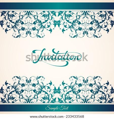 elegant invitation template calligraphic inscription on stock vector