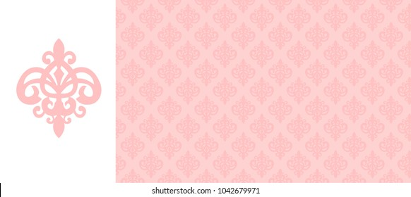 Elegant invitation vector pattern. Floral seamless background. Damask pink wallpaper for girl nursery. Texture for decoration greeting card ( vintage baby shower, wedding, birthday) Little princess