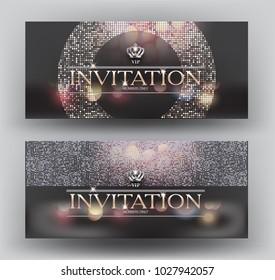 Elegant invitation VIP card with sparkling design elements and crown. Vector illustration