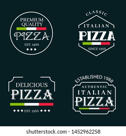 Elegant italian pizza logos collection with flag. Vector set.
