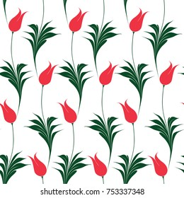 Elegant Iznik style tulips seamless pattern, repeat background