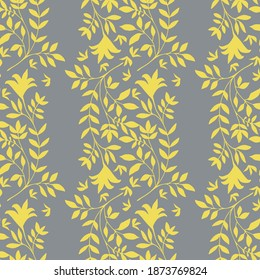 Elegant jacquard effect wild meadow grass seamless vector pattern background. Yellow grey backdrop of leaves in stylized geometric damask design Botanical baroque foliage all over print.