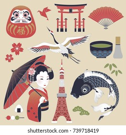Elegant Japan cultural symbol set, fortune word in Japanese on daruma