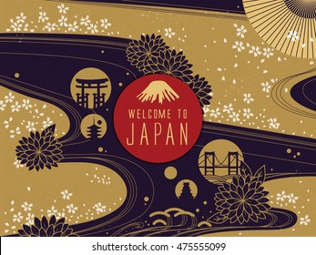 Elegant Japan travel poster, gorgeous floral background with welcome words