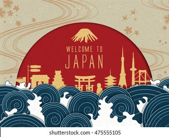 Elegant Japan travel poster with red sun and beautiful tides