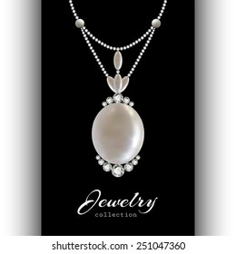 Elegant jewelry pendant with diamonds and pearls, vector jewellery isolated on black, eps10
