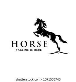 elegant jumping horse style logo
