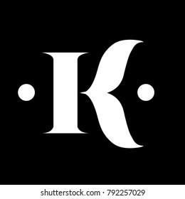 Elegant K Letter Sans Serif Classic Ornament Form Logo