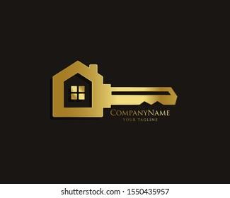 Elegant Key House Logo Design, Real Estate Logo Icon Symbol Design Vector Template