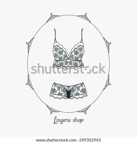 Elegant lace lingerie set in frame  logo design  vector illustration.  Underwear logotype. 6096926f8