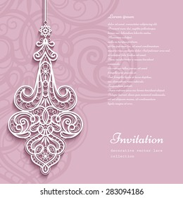 Elegant lace pendant on ornamental pink background, lacy feather decoration, greeting card, wedding invitation or announcement template, vector eps10