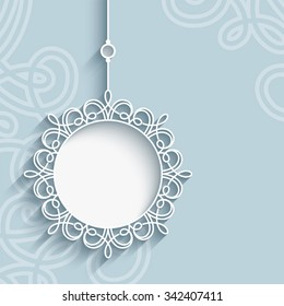 Elegant lace pendant on ornamental neutral background, mandala, snowflake, lacy Christmas decoration, greeting card, invitation or announcement template, vector eps10