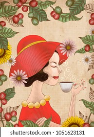 Elegant lady in red dress is drinking a cup of coffee, engraving style leaves and coffee cherries frame