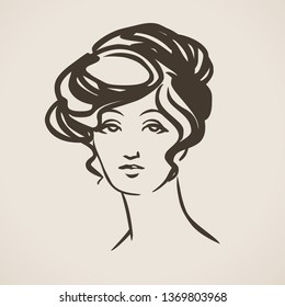 Elegant lady in the style of the 1900s. Vector hand drawn illustration
