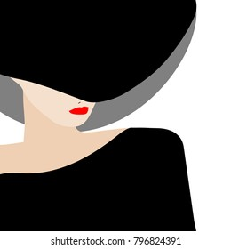 An elegant lady in a stylish wide-brimmed hat is featured in a minimalist fashion and beauty illustration.