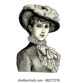 """Elegant lady - Vintage engraved illustration - """"La mode illustree"""" by Firmin-Didot et Cie in 1882 France"""