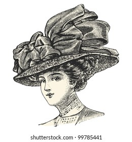 A elegant lady wearing a large hat  - vintage engraved illustration -  Catalog of a French department store - Paris 1909