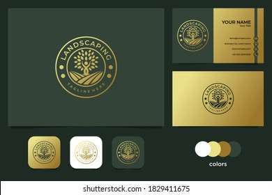 elegant landscaping with people and tree logo design and business card