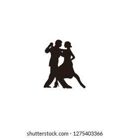 Elegant latino dancers couple. Group of mature tango dancing people in ballroom night event. Senior dancer party.