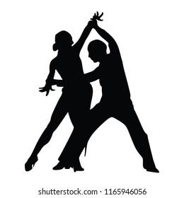 Elegant latino dancers couple vector silhouette illustration isolated on white background