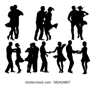Elegant latino dancers couple vector silhouette illustration isolated on white background. Group of mature tango dancing people in ballroom night event. Senior dancer party. Closeness and love concept