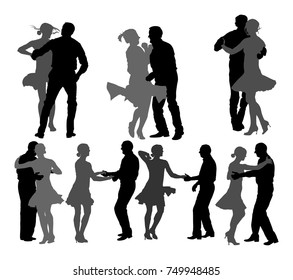 Elegant latino dancers couple vector silhouette illustration isolated on white background. Group of mature tango dancing people in ballroom night event. Closeness and love concept.