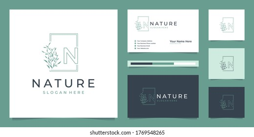 Elegant leaf logo design line art. Can be used for beauty salons, decorations, boutiques, spas, yoga, cosmetic and skin care products. premium business card vector