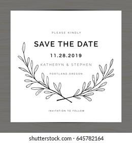 Elegant leaves floral wreath wedding invitation card template. Save the date card. Hand drawn flower wreath laurel. Vector illustration.