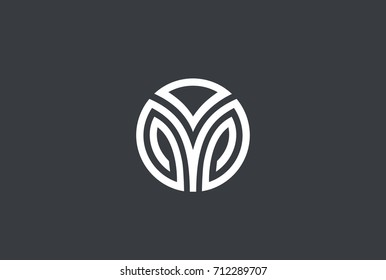 Elegant Leaves Luxury Circle abstract Logo design vector template Linear style. Fashion Jewelry Corporate Business Logotype concept icon.