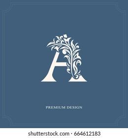 Elegant letter A. Graceful royal style. Calligraphic beautiful logo. Vintage drawn emblem for book design, brand name, business card, Restaurant, Boutique, Hotel. Vector illustration