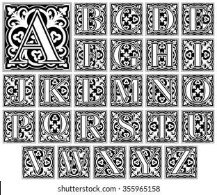 elegant letter alphabet / vintage capital vector set