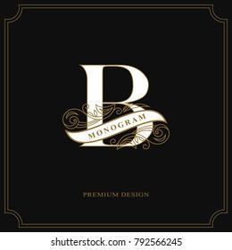 Elegant letter B. Calligraphic beautiful logo with tape for labels. Graceful style. Vintage drawn emblem for book design, brand name, business card, Restaurant, Boutique, Hotel. Vector illustration