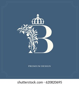 Elegant letter B with a crown. Graceful royal style. Calligraphic beautiful logo. Vintage drawn emblem for book design, brand name, business card, Restaurant, Boutique, Hotel. Vector illustration