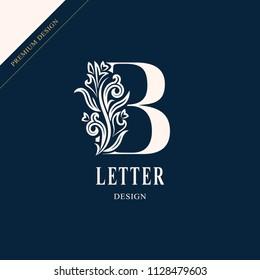 Elegant letter B. Graceful royal style. Calligraphic beautiful logo. Vintage drawn emblem for book design, brand name, business card, Restaurant, Boutique, Hotel. Vector illustration