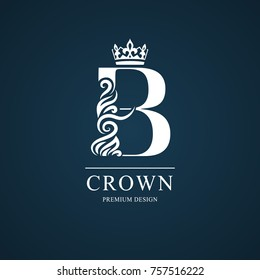 Elegant letter B. Graceful royal style. Calligraphic beautiful logo. Vintage drawn emblem for book design, brand name, business card, Restaurant, Boutique, Hotel. Vector illustration
