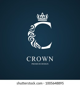 Elegant letter C with crown. Graceful royal style. Calligraphic beautiful logo. Vintage drawn emblem for book design, brand name, business card, Restaurant, Boutique, Hotel. Vector illustration