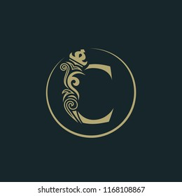 Elegant letter C with crown. Graceful royal style. Calligraphic beautiful round logo. Vintage drawn emblem for book design, brand name, business card, Restaurant, Boutique, Hotel. Vector illustration