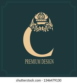 Elegant Letter C with Crown. Graceful Royal Style. Calligraphic Beautiful Logo. Vintage Drawn Emblem for Book Design, Brand Name, Business Card, Restaurant, Boutique, Crest, Hotel. Vector illustration