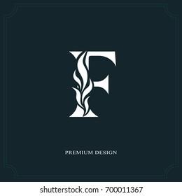 Elegant letter F. Graceful royal style. Calligraphic beautiful logo. Vintage drawn emblem for book design, brand name, business card, Restaurant, Boutique, Hotel. Vector illustration