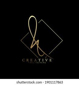 Elegant Letter H Gold Handwriting Signature Logo Design Template with Rhombus Line Background