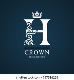 Elegant letter H. Graceful royal style. Calligraphic beautiful logo. Vintage drawn emblem for book design, brand name, business card, Restaurant, Boutique, Hotel. Vector illustration