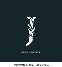 Elegant letter J. Graceful royal style. Calligraphic beautiful logo. Vintage drawn emblem for book design, brand name, business card, Restaurant, Boutique, Hotel. Vector illustration