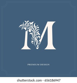 Elegant letter M. Graceful royal style. Calligraphic beautiful logo. Vintage drawn emblem for book design, brand name, business card, Restaurant, Boutique, Hotel. Vector illustration
