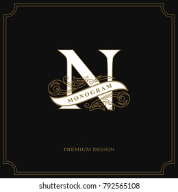 Elegant letter N. Calligraphic beautiful logo with tape for labels. Graceful style. Vintage drawn emblem for book design, brand name, business card, Restaurant, Boutique, Hotel. Vector illustration