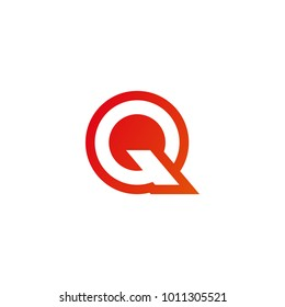 Elegant letter Q with red gradient color logo design template vector